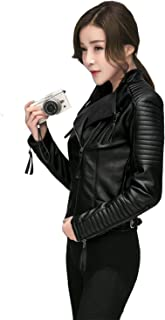 Fitaylor Women's Faux Leather Biker Jacket Slim Short Coat Zipper Moto Jackets