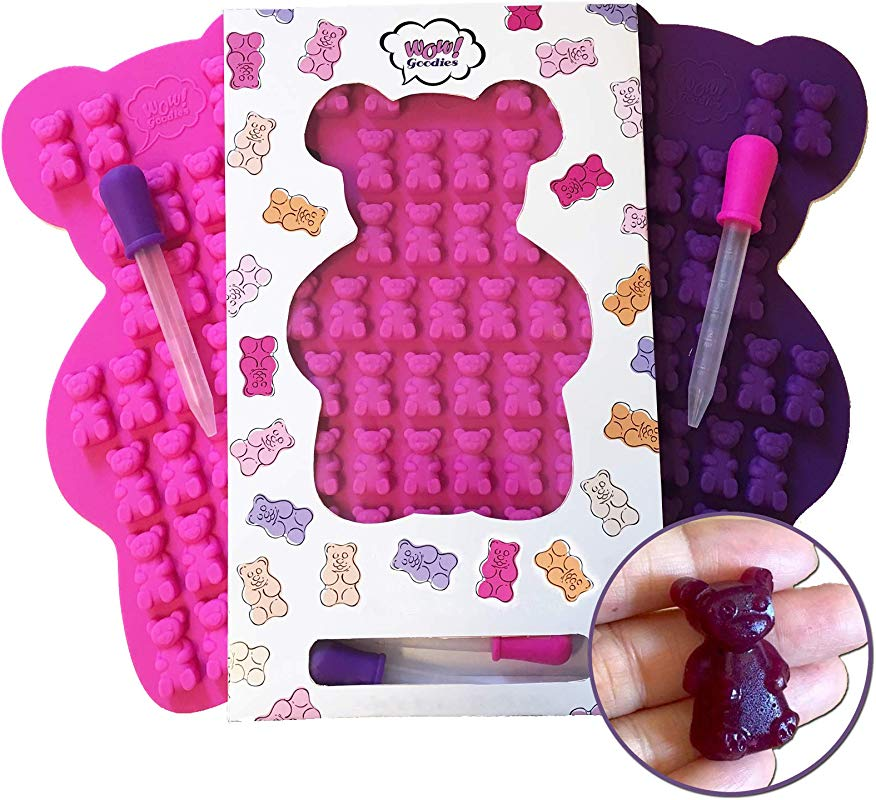 Wow Goodies Large Gummy Bear Mold 2 Big Molds 2 Bonus Droppers Durable BPA Free FDA Approved Silicone
