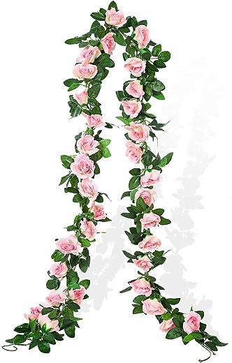 Cotemdery Fake Rose Reben Künstliche Seidenbrosen Blumen Hängen Garlands Arch Floral Dekoration für Home Hochzeit 2 Pack 15ft(Pink)