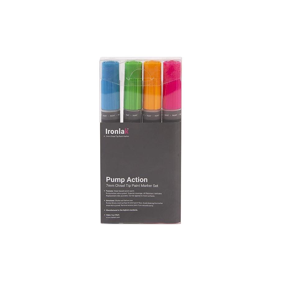 Ironlak Pump Action – 7mm Chisel Tip Acrylic Paint Marker Pen Sets (4 Pack,Fluoro Colors Set)