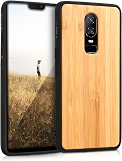 kwmobile Wooden Protective Cover for OnePlus 6 - Hard case with TPU Bumper Bamboo in Light Brown