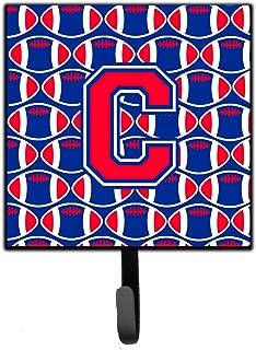 Caroline's Treasures Letter C Football Harvard Crimson and Yale Blue Leash or Key Holder CJ1076-CSH4 Small Multicolor