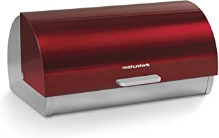 Morphy Richards Accents Roll Top Bread Bin, Stainless Steel, Red