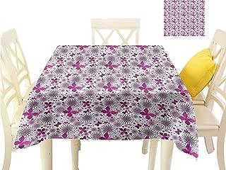 WilliamsDecor Non Slip Tablecloth Purple,Amorous Flora Theme Small Tablecloth W 60