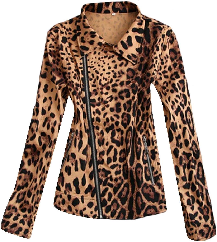LEISHOP Women Casual Slim Fit Leopard Zipper Stylish Punk Jackets