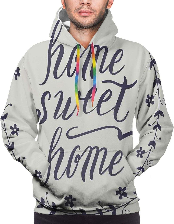 Men's Hoodies Sweatshirts,Circular Flower Blooms in Soft Earthen Tones Curved Branches Effects Artwork