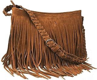CHIC DIARY Faux Suede Fringe Tassel Crossbody Messenger Bag Women Hobo Shoulder Bags Handbag