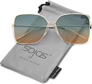 SOJOS Fashion Oversized Square Sunglasses for Women Flat Mirrored Lens SJ1082