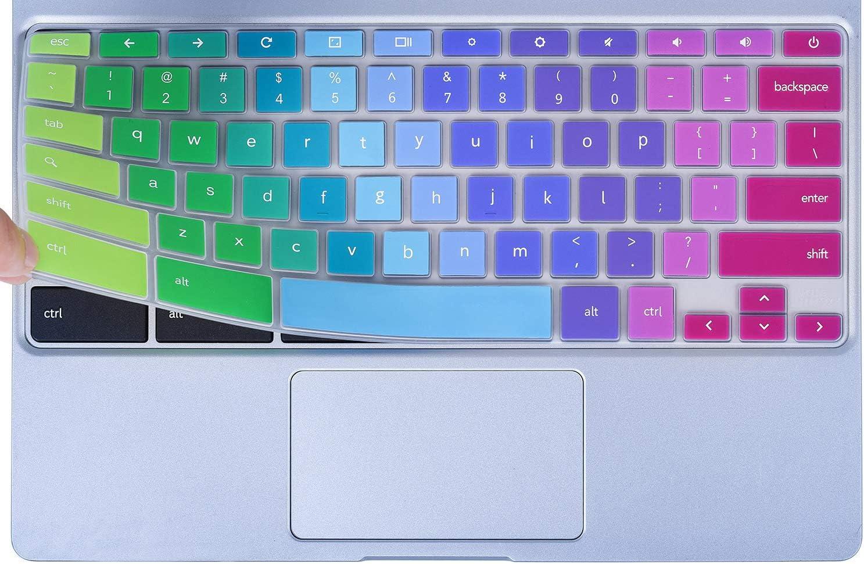 "Colorful Keyboard Cover for 2020-2017 Samsung Chromebook 4 3 XE310XBA XE500C13 XE501C13 11.6/Chromebook 4 15.6"" XE350XBA/Chromebook 2 XE500C12/Chromebook Plus V2 XE520QAB XE521QAB 12.2"", Rainbow"