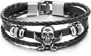 COOLSTEELANDBEYOND Épée Pirate Crâne Noir Multi-Brin Homme Femme Bracelet en Cuir Tressé - Entrelacé - Envelopper Bracelet