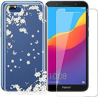 Vetro Temperato Film Protection Pellicola Silicone Morbido Bumper Case Cover per Huawei Honor 7S//Huawei Y5 2018//Huawei Y5 Prime 2018 DYSu Custodia Fiore Rosa Trasparente TPU