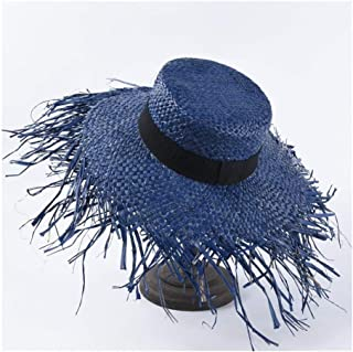 Summer hat Female French raw Edge Lafite Straw hat Fashion Big Sunscreen Sun Visor Seaside Holiday Beach hat` TuanTuan (Color : Blue)