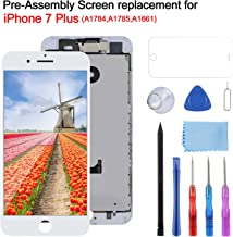 YPLANG Compatible with iPhone 7 Plus Screen Replacement White 5.5 Inch LCD Display with 3D Touch Screen Digitizer Frame Full Assembly with Proximity Sensor, Earspeaker and Front Camera, Repair Tools a