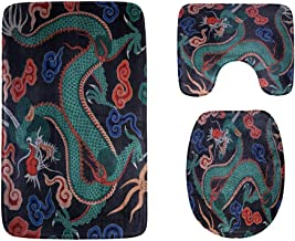 Dragons Fighting in The Clouds Bathroom Rug Mats Set 3-Piece,Soft Shower Bath Rugs,Contour Mat and Toilet Seat Lid Cover N...