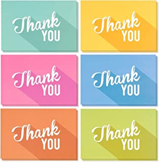 Thank You Cards - 48-Count Thank You Notes, Bulk Thank You Cards Set - Blank on the Inside, Colorful Designs – Includes Thank You Cards and Envelopes, 4 x 6 Inches
