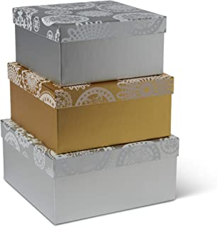 Tri-Coastal Design Set of 3 Nesting Holiday Gift & Storage Boxes - Decorative Stackable Rectangular Paperboard Gold & Silver Containers with Seasonal Snowflake Designs and Fitted Lids
