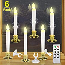 Kithouse 6 Set Christmas Window Candles Lights with Timer Battery Operated Electric LED Taper Candles Flameless Flickering for Windows, Gold Taper Candle Holders, Suction Cups & Battery Included