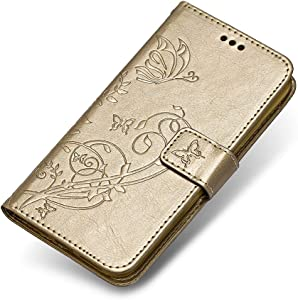 Sony Xperia XZ2 Compact Case  The Grafu  Leather Wallet Case Embossed Design Stand Function Cover with Credit Card Slot for Sony Xperia XZ2 Compact  Gold