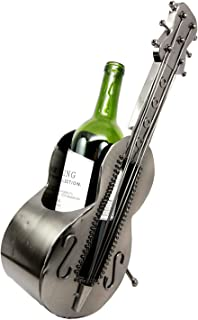 Atlantic Collectibles Acoustic Guitar On Stand Hand Made Metal Wine Bottle Holder Caddy Decor Figurine 14.5