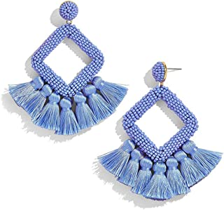 Women's Beaded Tassel Earrings Statement Fringe Drop Bohemian Chandelier Earrings Geometric Dangle for Women Daily Wear Wedding Bridal Christmas Gifts