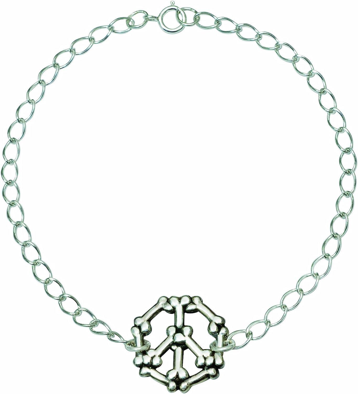 Rockin' doggie Sterling Silver Bracelet, Bones Peace Sign