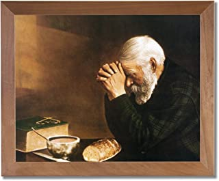Art Prints Inc Daily Bread Man Praying at Dinner Table Grace Religious Wall Picture Honey Framed Art Print