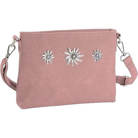 dressforfun 900651 Damen Trachten Handtasche mit Edelweiß Motiv, Schicke Trachtenhandtasche in Wildlederoptik (Rosa | Nr. 303269)