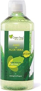 Green Frog Jugo de Aloe Vera Bio con Pulpa - Producto Fresco - Aloe Vera 99,8% Calidad Premium - (Con Pulpa, 1 Botella 1 L)