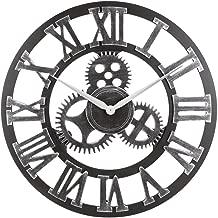 "Decorative Wall Clock, Eruner 23"" Oversized Clocks Mechanism 3D Gear Roman Numerals Design Handmade Large Round Non-Ticking Home Kitchen Living Room Restaurant Bar Decoration Silver"