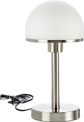 10 x 15cm E14 TRIO Tischlampe TOUCH-ME Glas weiß Nickel matt