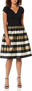 S.L. Fashions womens Tea Length Tuck Neck Fit and Flare Dress Special Occasion Dress