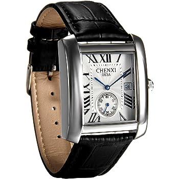 Avaner Mens Square Watch Vintage Leather Cuff Watch Roman Numeral Analog Quartz Wristwatch Leather Strap Classic Retro Watch withAuto Calendar Window