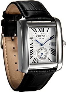 Avaner Mens Square Watch Vintage Roman Numeral Analog Quartz Wristwatch Leather Strap Causal Classic Retro Watch Unique Leather Cuff Watches withAuto Calendar Window