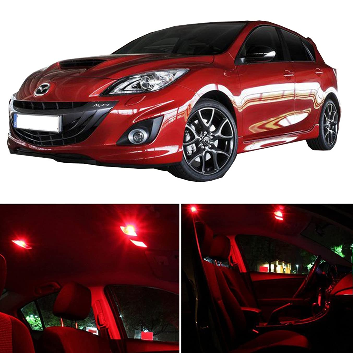 cciyu 11 Pack Red LED Package Kit LED Interior Lights Accessories Replacement Parts Replacement fit for 2013-2017 Mazda 3