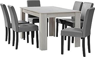[en.casa] Table à Manger chêne Blanc avec 6 chaises Gris Brilliant Cuir-synthétique rembourré140x90