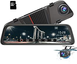 AWESAFE Mirror Dash Cam 10 inch Touch Full Screen Front 1080P Rear 1080P Dual Lesn 170 Degrees Wide Angle Rear View Mirror Camera 24 Hours Parking Monitoring Included 32GB Card