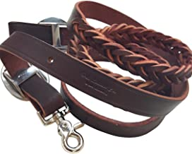 7-1/2' Roper-Barrel Braided One Piece Brown Leather Reins Rein W/Snap By Hill Leather