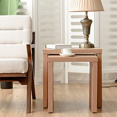 Giantex Set of 2 Nesting End Tables Accent Wood Color Home Decor Casual Style Living Room Furniture Sofa Side Nesting Coffee