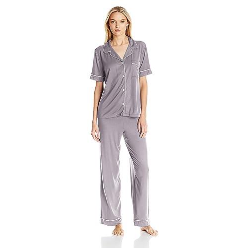 de3d33b48af Eberjey Women s Gisele Two-Piece Short Sleeve   Pant Pajama Sleepwear Set