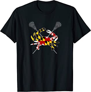 Maryland Crab Lacrosse Crossed Stick MD Flag Matching Family T-Shirt
