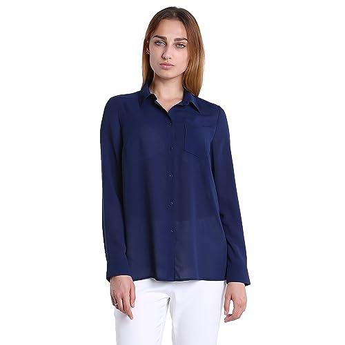 3bdf30699c5352 Fyriona Women s Button Down Shirt Chiffon Blouse Basic Long Sleeve