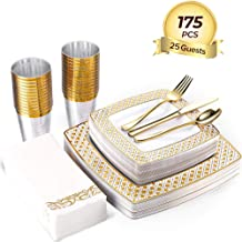 FOCUS LINE 175PCS Gold Plastic Disposable Dinnerware Set, Diamond Square Plastic Tableware include 25 Dinner Plates, 25 Salad Plates, 25 Napkins,25 Forks, 25 Knives, 25 Spoons, 25 Cups