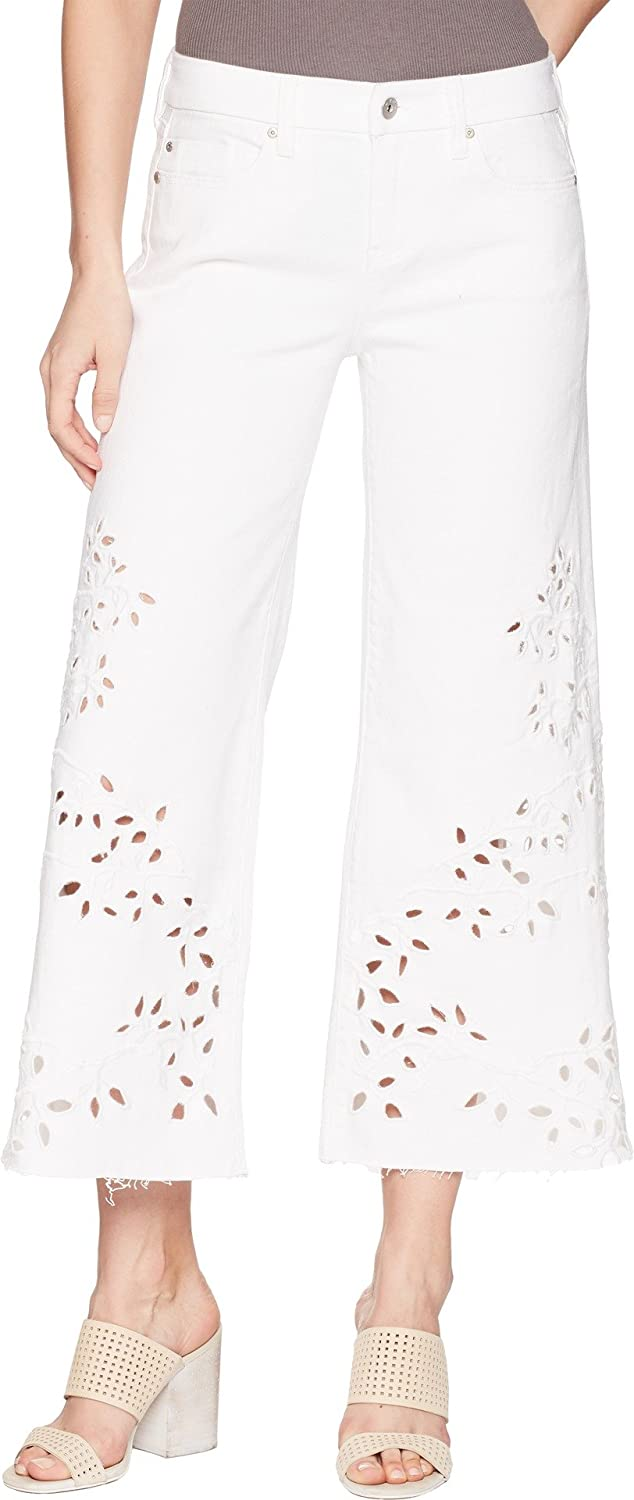 Liverpool Womens LVPL by Callie Cropped Wide Leg with Cut Out Eyelet Embroidery in Comfort Stretch Denim in Bright White