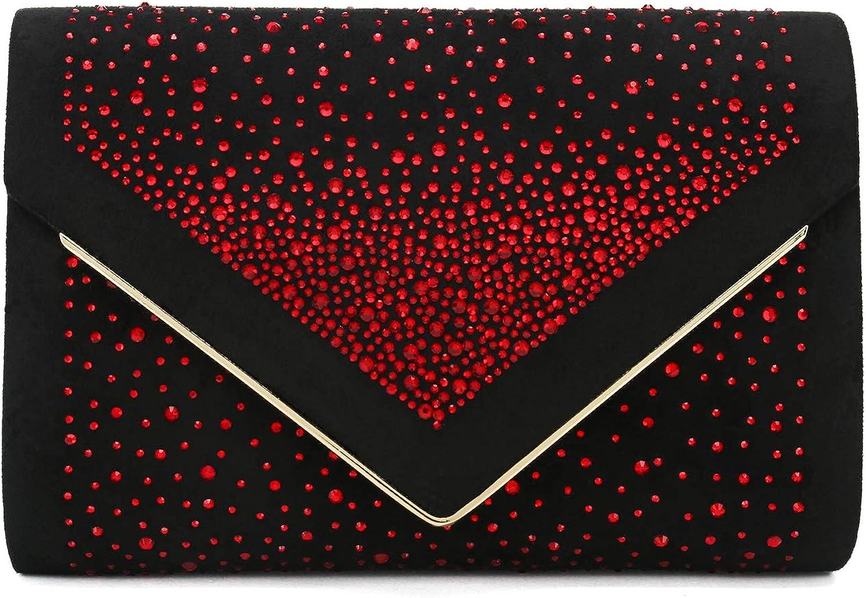 Charming Tailor Envelope Purse Formal Faux Suede Clutch Rhinestone Evening Bag for Women Party Handbag