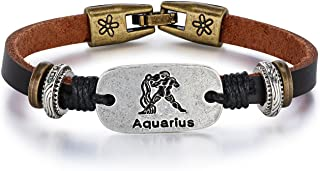LineAve Unisex Brown PU Leather Astrology Zodiac Sign Horoscope Bracelet
