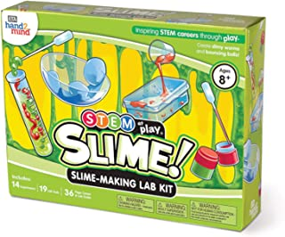 hand2mind Slime! Science Slime Making Lab Kit for Kids (Ages 8+) - Build 14 STEM Career Experiments and Activities | Create DIY Slimy Worms and Bouncing Balls | Educational Toys | STEM Authenticated