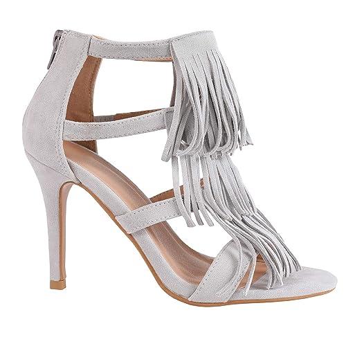 62d91d52b444d Womens Stilettos Thin High Heeled Open Toe Fringe Tassel Pumps Sandals