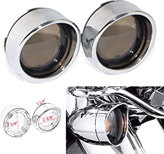 Bid4ze Smoked Turn Signal Lens Cover Chrome Trim Ring Bezels Visor x2 For Harley Parts Dyna Street Glide Road King Softail Touring Sportster