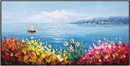 Handgeschilderd Olieverfschilderij - Modern Natuurlijk Landschap Handgeschilderd Mes Kleurrijke Bloemen Olieverfschilderij...