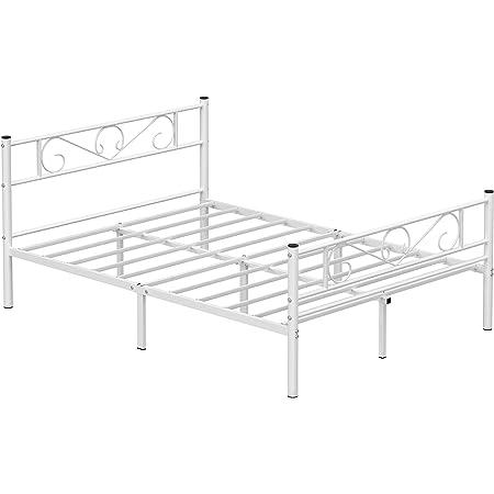 VASAGLE Lit Double, Cadre de lit en métal, pour Matelas de 140 x 190 cm, pour Adultes, Adolescents, Pas Besoin de sommier, Assemblage Simple, pour Petits espaces, Blanc RMB063W01
